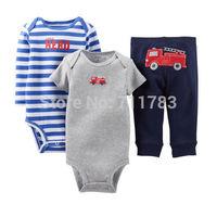 New arrival! wholesale carter's baby boy 3piece set, carter's 3pcs bodysuit with pants set, 5sets/lot,free shipping