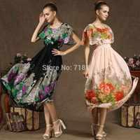 2014 new real shot Cloak-type ink peony dress fashion chiffon dress national wind Party Dresses