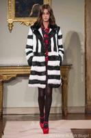 2014 New Winter European & American Elegant V-Neck Into The Black And White Stripes Overcoat Wool