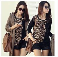 new 2014 leopard print women t-shirt long t shirt o-neck t shirt women tops for women roupas femininas women's clothing