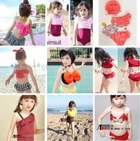 Children kids baby girl swimwear swimsuit Bow Separates bikini bathing suit Various style high quality 1set