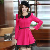 2015 New In Fashion Autumn and Winter Women's Peter pan collar Long-sleeve Woolen Female Dress With Belt