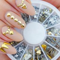 6 Styles Silver/Gold Nail Art 3D Glitter Rhinestones Gems Decoration Round Wheel