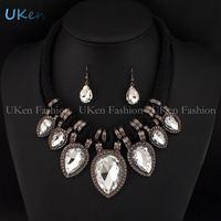 2014 Brand Designer Jewelry Ropes Chain Big Drop Rhinestones Crystal Pendants Vintage Necklace Earring Set Luxury Trendy Bijoux