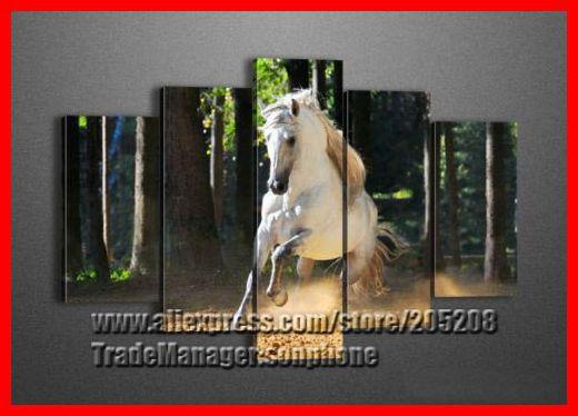 emoldurado 5 painel enorme cavalo pintura da parede da lona arte floresta foto decoração casa xd02565 quadro de parede(Hong Kong)
