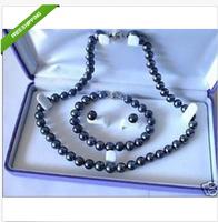 9-10mm SOUTH SEA AAA Black Pearl Necklace Bracelet Earring Set