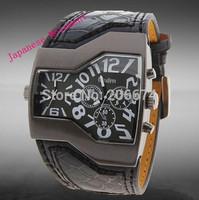 Hot Sale Men's Double Movement Quartz watch watches men luxury brand military watch men Outdoor sports Leather strap watch #1220