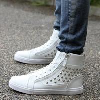 2014 Winter British fashion casual high-top skate shoes zipper influx of Korean hip-hop shoes men shoes men's high state