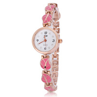 Wholesale Fashion Charm Style Pink Leaf 8 Bracelet Rhinestone Watches Design For Women Ladies Free Shipping