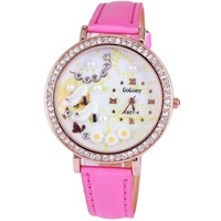 Dropship 2014 new style pu leather fashion women watches gift high heels with charm rhinestone rose gold plated