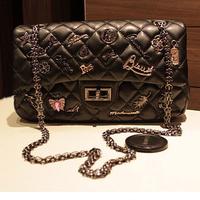 New2014desigual women messenger bags leather Chains Badges Classic Grid Lady Shoulder messenger bags PL326#69
