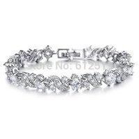Lovejewelry Platinum Plating Flower Shape Cubic Zirconia Womens Bracelet, 6.8 Inch