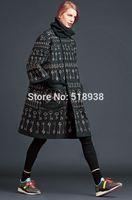 New 2014 autumn winter women vintage fashion keys patterns print long trench coat jacquard luxury brand outerwear trenchcoat xl