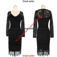 2014 Women Ladies Sexy Cotton Casual Lace Dress Long Sleeve Dress