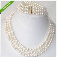 strands 8-9 mm south sea white pearl necklace bracelet 14k/20