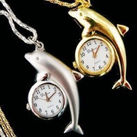 1pcs/lot Cute Dolphin Shape Quartz Pocket watches Pendant Necklace Watches for Womans ladies girls children boy H7+free shipping