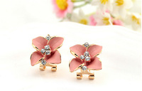 Sweet and pure and fresh fashion inferior smooth paint clovers  stud earrings