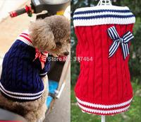 Wholesale Retail  Fashion 2014 Spagetti Winter Dog Pet Puppy Jumper Sweater Navy Butterfly Blow Warm Cute 2 Color XXS XS S M L