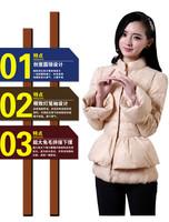 W.ZXS - Hot-Selling 2014 New Winter Women European Style Organza Really Rabbit Lantern Sleeve Stitching Slim Down Coat BYR42