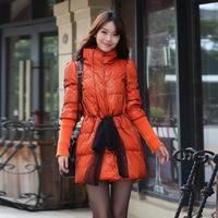 W.ZXS - Hot-Selling 2014 New Winter Women European Style Lei Mesh Yarn Lacing Bow-Knot Long-Sleeved Down Coat BYR32