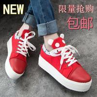 2014 autumn single shoes cotton-made platform shoes round toe lacing panda head shoes female shoes