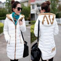 Big Promotion 2014 Winter Women Long Jacket Downs Slim Extra Thick Female Wadded Coats With Hat Zipper Outerwear L XL XXL XXXL