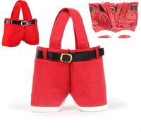 Fashion Hot Red Santa Pants Treat Candy Bags Useful for Christmas Gift New Christmas Gift Retail