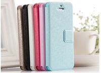 Support Drop shipping ! 5 Colors Leather Case for iphone 5 5s Flip Stand Skin Cover With Credit Card Holder + Stand Function