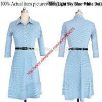 2014 Autumn New Women Casual Dress OL Slim Long Sleeve Elegant Party Vintage Polka Dot Print Dresses Shirt collar
