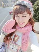 Free Shipping New Fashion Ladies Women Knitted Scarf Hat and Gloves 3 piece set Winter Girl Knitting Cap Pink