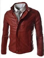 2014 new arrive men's leather jacket motorcycle men's Coats Stand Collar mens Coats red 1364