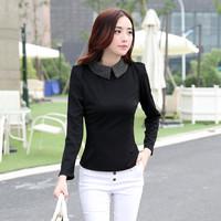 women work wear t shirts 2014 new autumn winter fashion casual elegant career solid long sleeve slim black beige t shirts tops