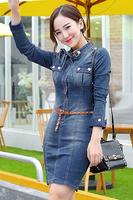 Plus Size Denim Dress shirt bodycon mini pencil short jeans Sexy elegant ladies women new vestido causal informal winter