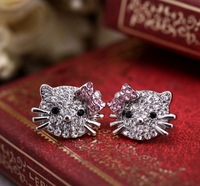 [Mini Order $10] Cute  Cats  Bow  Diamante  Women Earrings