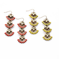 [Mini Order $10] Retro  Artificial crystal  Fan  Flowers  Women's Long earrings