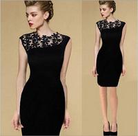 Dresses New Fashion 2014 Women Plus Size Black Vestidos Casual Free Shipping Party Evening Elegant Vintage Lace Pencil Dress