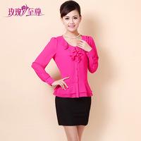 Rose 2014 spring slim chiffon shirt female long-sleeve mother clothing loose plus size clothing