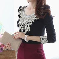 new hot women work wear  shirt 2014 autumn winter fashion casual elegant lace patchwork long sleeve slim black t shirts tops