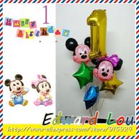 Mickey couple ballon 6PCS/Set New Combination of birthday ,Baby 1 year Birthday Foil balloon party decorations balloon Free Sh