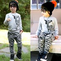 New fashion spring autumn boys girls striped clothing baby child sweatshirt casual pants set kids sets
