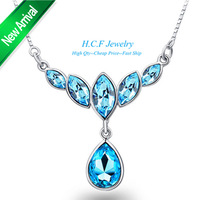 2015 New Arrival Christmas Gift 18K Wholesale Blue Crystal Necklace Jewelry Collar Bone drop pendant Fashion Crystal Necklace