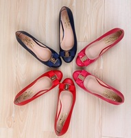 Free shipping lady pumps with bowtie big size 34~41 genuine leather lady pumps candy colors round toe fashion new shoes