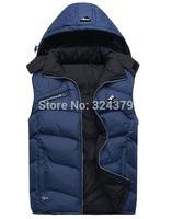 men Winter Warm Man's Down Cotton Vest Fashion Waistcoat 2014 detachable cap men slim casual cotton vest waistcoat