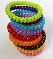100pcs/Lot Candy Color Telephone Cord Hairbands Girl's Hair Ties 0.6x15cm  Hair Strap Hair Bands J024