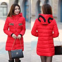 2014 new Korean Ladies Fashion Slim Long Hooded zipper coat