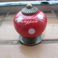 Free Shipping  10pcs30mm Ceramic Spot Dargon Ball Door  Handle Pull Knobs Cabinet Cupboard Drawer Locker Vintage Retro Gold Red