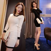 2014 new fashion autumn winter women sexy knitted dress casual long sleeve slim skinny black pencil mini dresses plus size XXL
