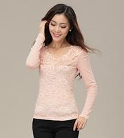 New 2014 women summer-autumn shirts long-sleeeve patchwork solid chiffon blouse Korea fashion ladies lace blouse loose M-2XL