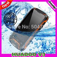 "100% Original HUADOO V3 Mobile phone MTK6582 Quad core Android 4.4 RAM1GB+8G IP68 Waterproof 4.0""Screen 8.0MP SG Free shipping"