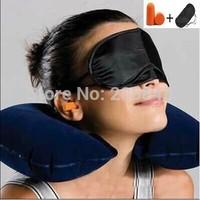 Free Ship 3pcs/set Travel U Shape Inflatable Neck Air Cushion Pillow + Eye Mask + 2pcs Ear Plug Confortable Travel Business Trip